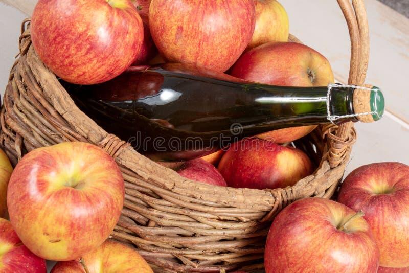 Fles van cider en mooie organische appelen royalty-vrije stock afbeelding