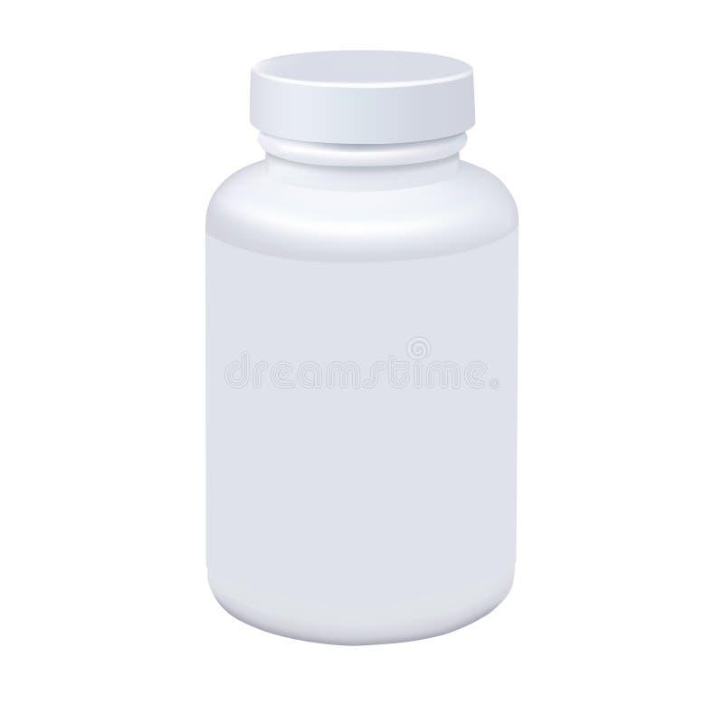 Fles van de geneeskunde de witte die pil op witte achtergrond wordt geïsoleerd Photorealistic vector stock illustratie