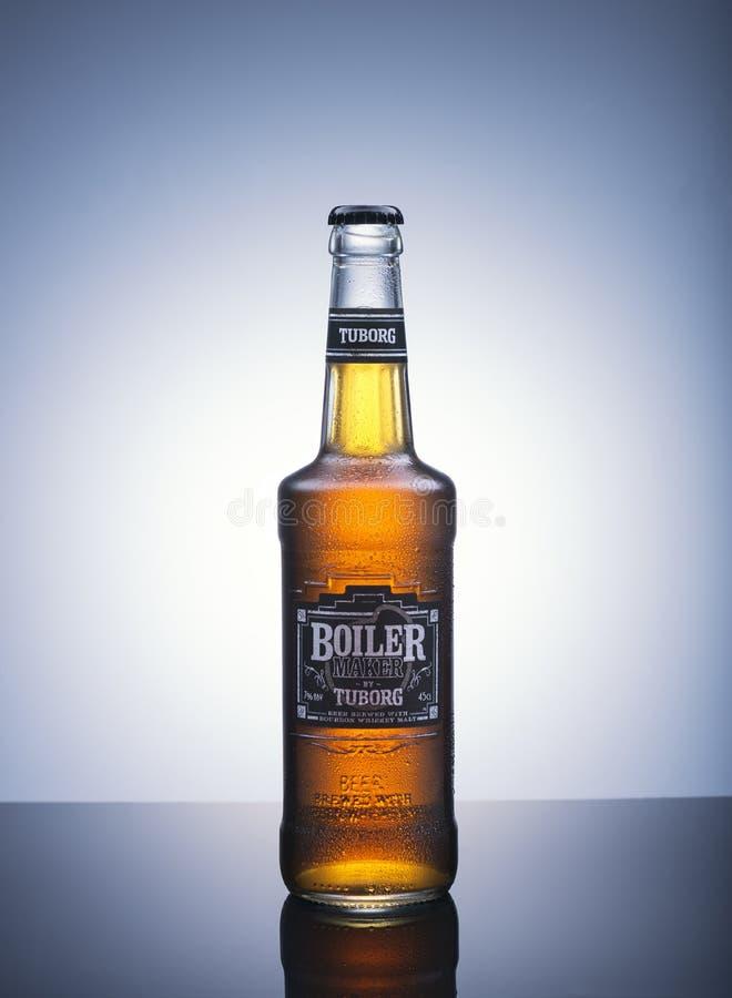 Fles van de Maker van de bierboiler door Tuborg royalty-vrije stock afbeelding