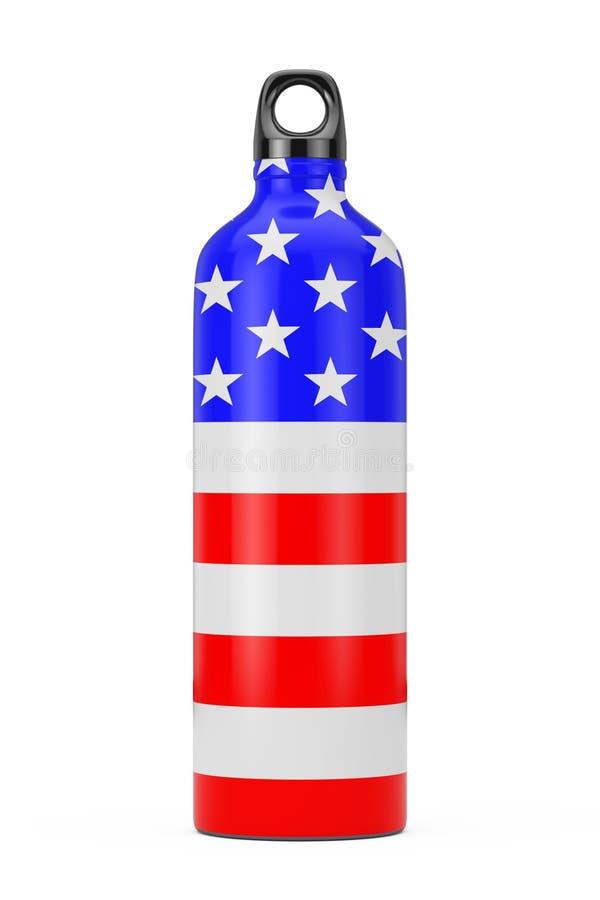Fles van het sport de Plastic Drinkwater met de Vlag van de V.S. het 3d teruggeven royalty-vrije stock fotografie