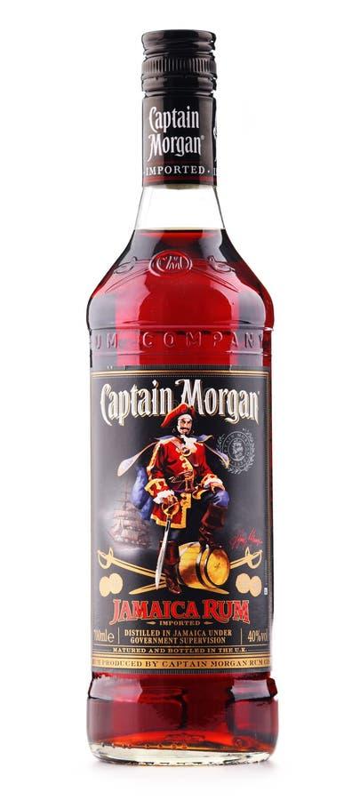 Fles van Kapitein Morgan Rum op wit wordt geïsoleerd dat royalty-vrije stock foto