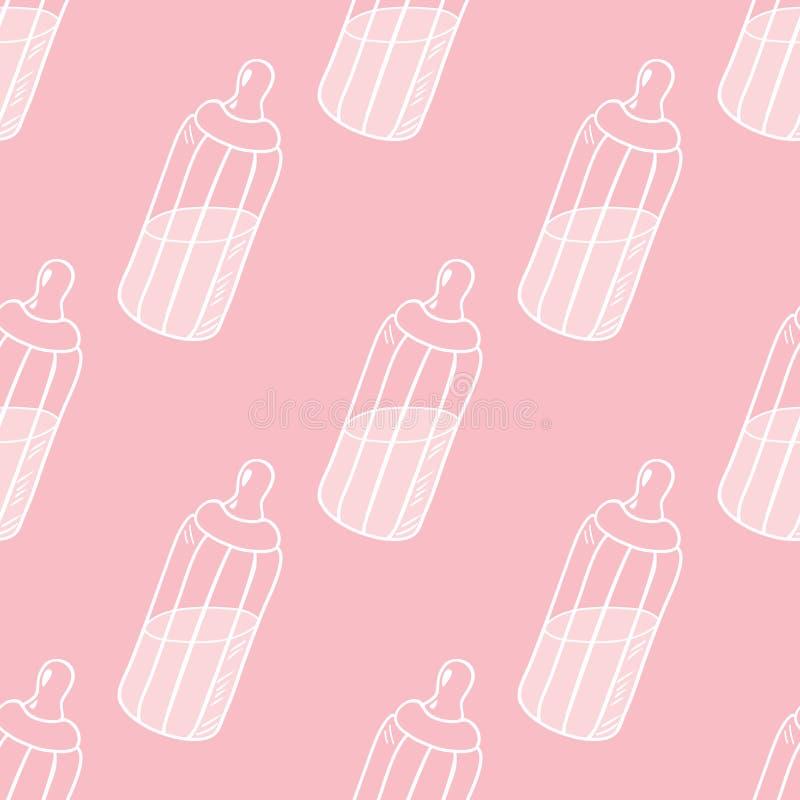 Fles van melk naadloos patroon stock illustratie