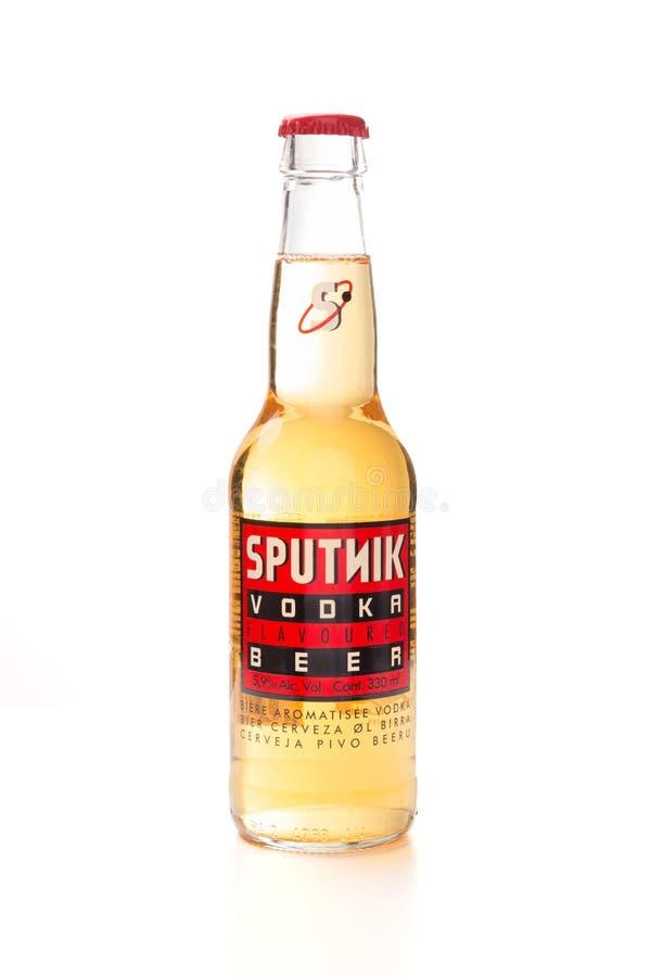 Fles van Spaanse bierspoetnik stock afbeelding