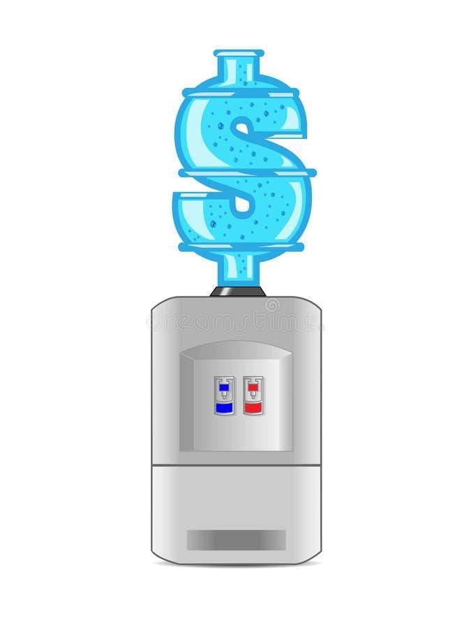 $-fles van water en koeler stock foto