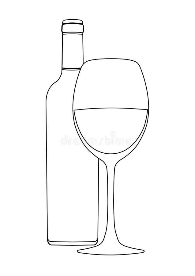 Fles van wijn en wijnglas, vectoroverzichtstekening, contourbeeld, kleuring, schets, pictogram, embleem, teken, zwart embleem, stock illustratie