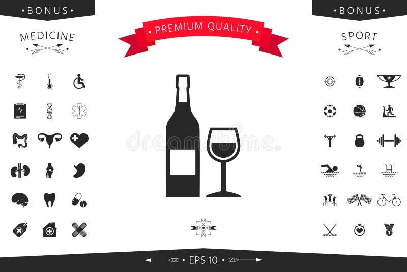 Fles van wijn en wijnglaspictogram royalty-vrije illustratie