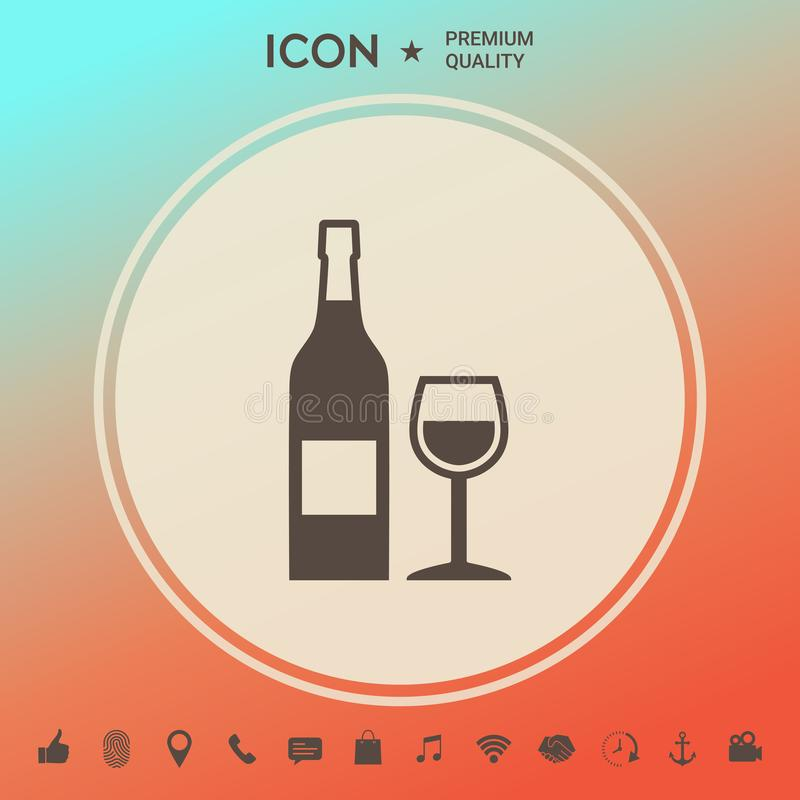 Fles van wijn en wijnglaspictogram vector illustratie