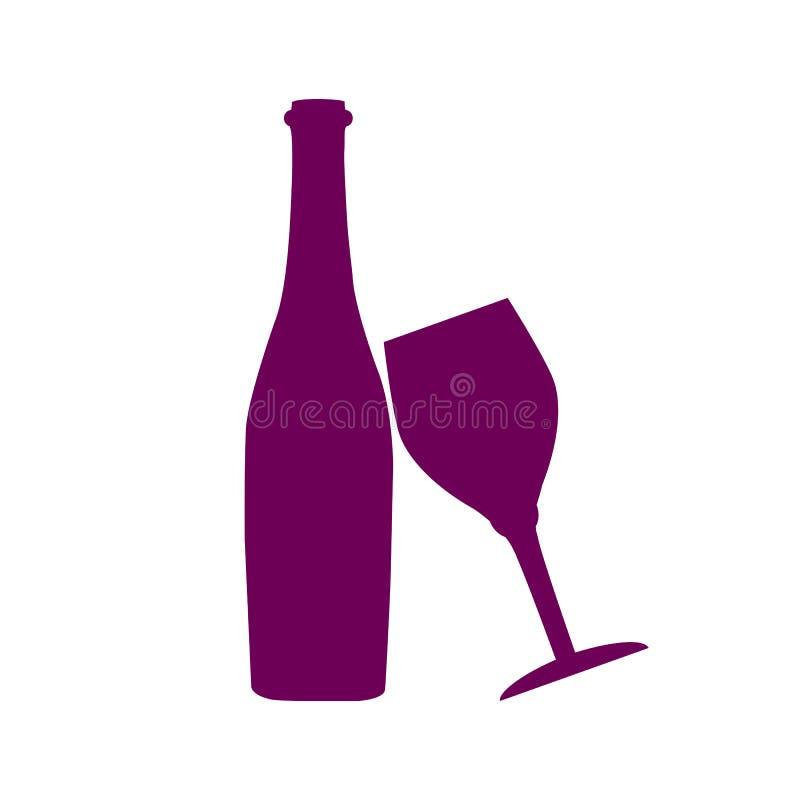 Fles van wijn en wijnglaspictogram, embleem, teken, embleem - vector vector illustratie