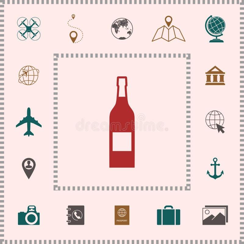 Fles van wijnpictogram stock illustratie
