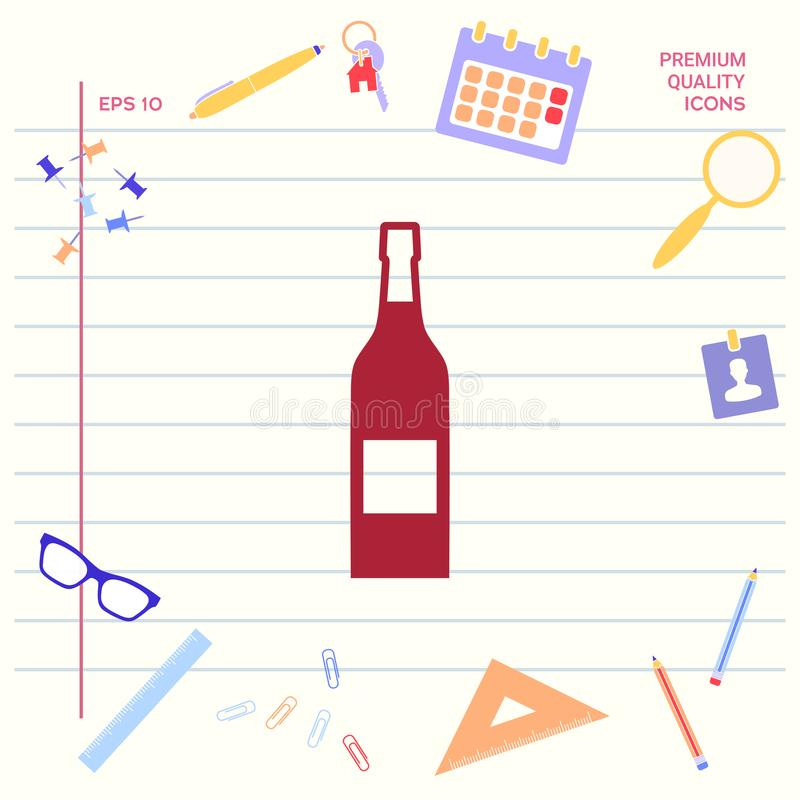 Fles van wijnpictogram royalty-vrije illustratie