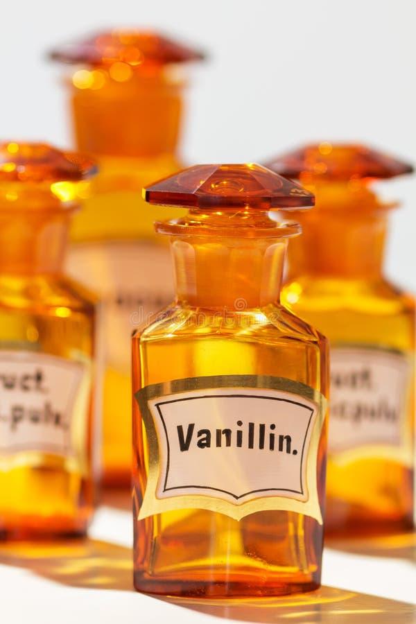Fles voor Vanilline, die door apothekers wordt gebruikt royalty-vrije stock afbeelding