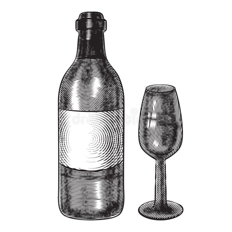 Fles wijn en een glas Illustratie in gravurestijl vector illustratie