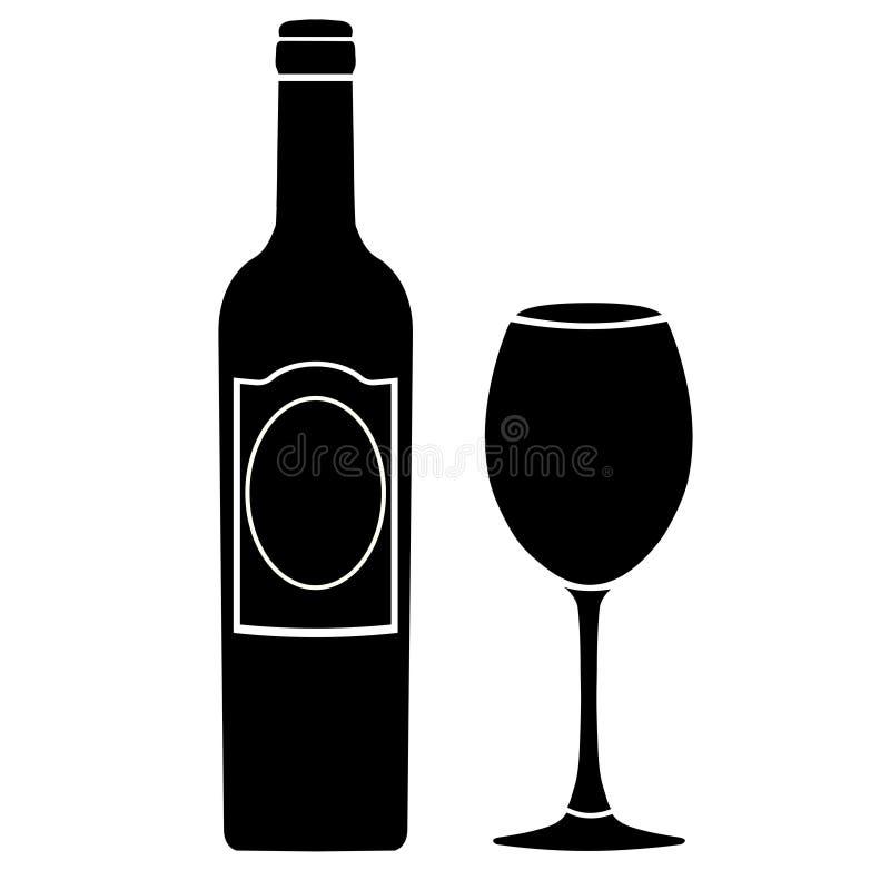 Fles wijn met etiket en wijnglas vectordiepictogram, embleem, teken, embleem, silhouet op witte achtergrond wordt geïsoleerd vector illustratie