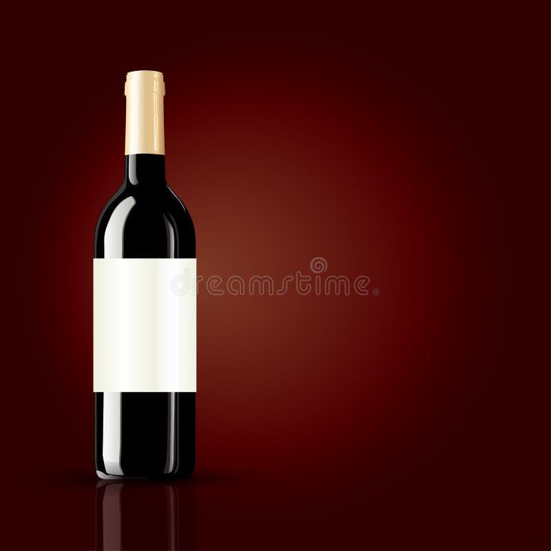 Download Fles Wijn Op Rode Achtergrond Vector Illustratie - Illustratie bestaande uit luxe, staaf: 39104594