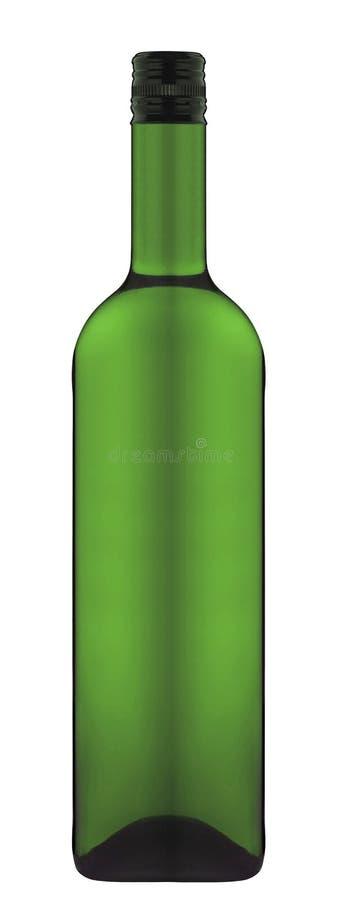 Fles wijn over wit wordt geïsoleerd dat royalty-vrije stock afbeelding