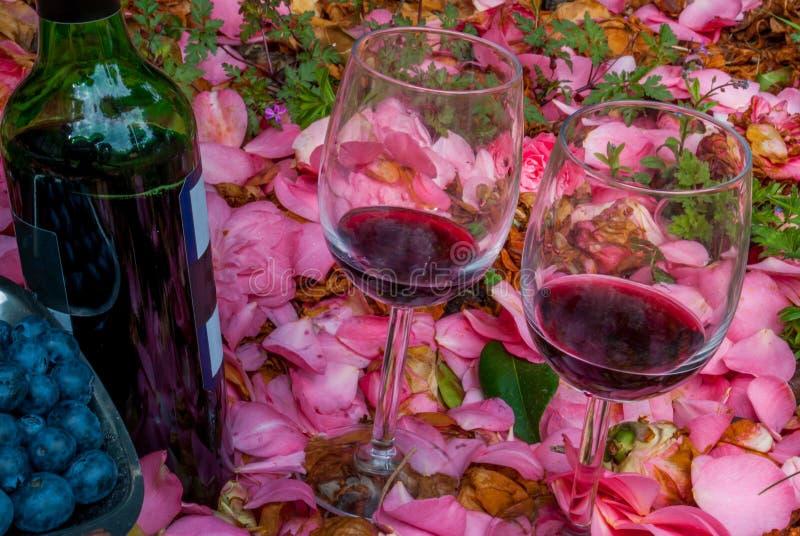 Fles, wijnglazen met bosbes in roze tuin royalty-vrije stock afbeeldingen