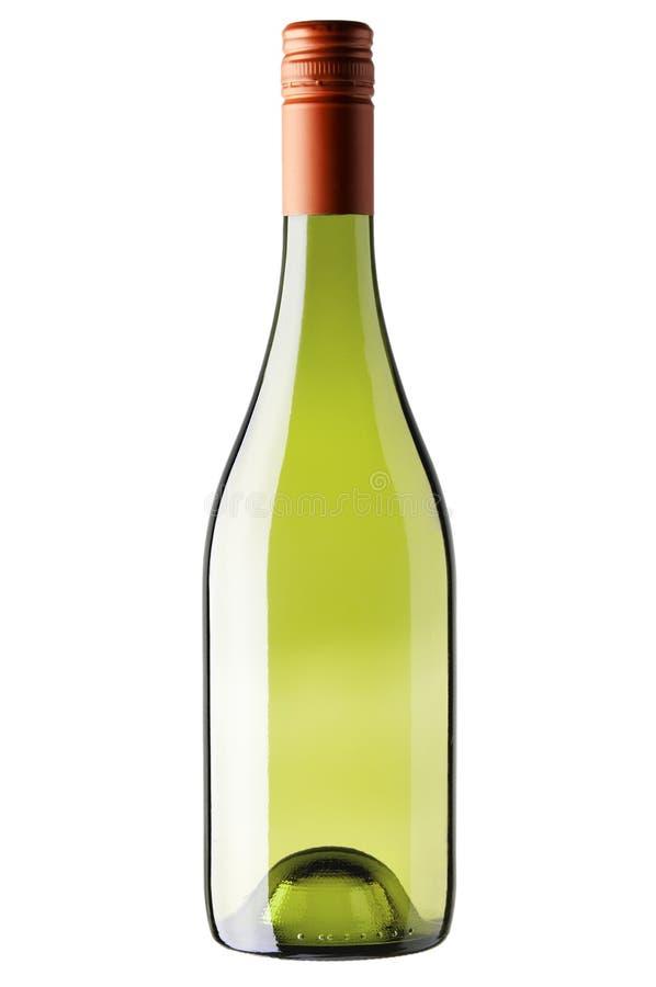 Fles witte wijn die op wit wordt geïsoleerd royalty-vrije stock foto's