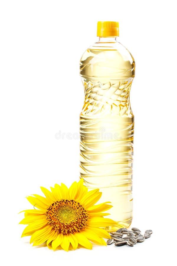 Fles zonnebloemolie royalty-vrije stock foto's