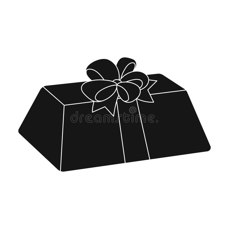 A flesh-colored gift with a red bow. Sweet present.Gifts and Certificates single icon. In black style vector symbol stock web illustration vector illustration