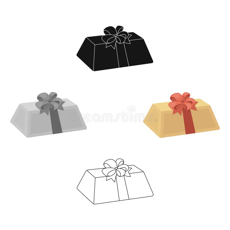 A flesh-colored gift with a red bow. Sweet present.Gifts and Certificates single icon in cartoon style vector symbol. Stock web illustration royalty free illustration