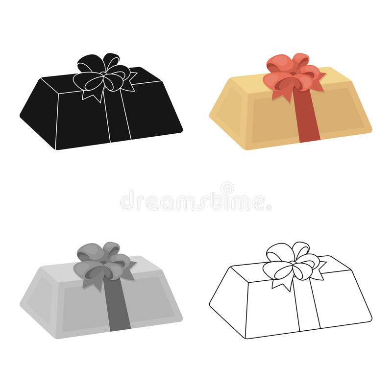 A flesh-colored gift with a red bow. Sweet present.Gifts and Certificates single icon in cartoon style vector symbol. Stock web illustration vector illustration
