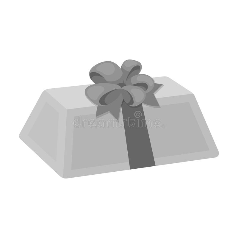 A flesh-colored gift with a red bow. Sweet present.Gifts and Certificates single icon in monochrome style vector symbol. Stock web illustration royalty free illustration