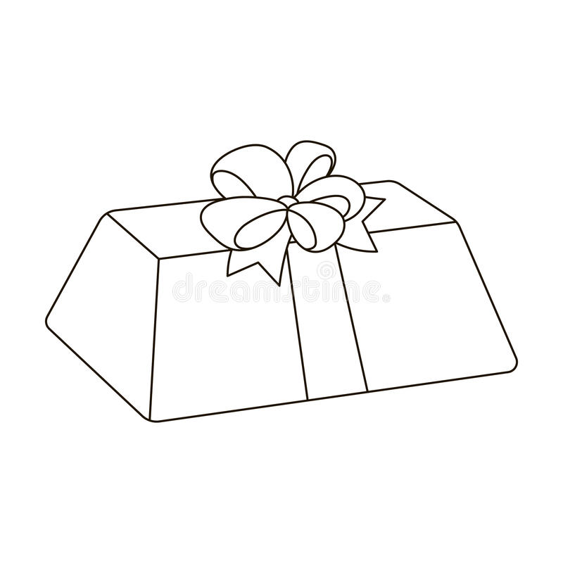A flesh-colored gift with a red bow. Sweet present.Gifts and Certificates single icon in outline style vector symbol. Stock web illustration royalty free illustration