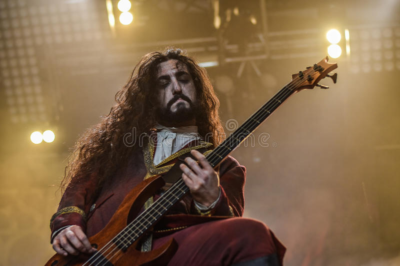Fleshgod Apocalypse in Hellfest 2016. Formed only in 2007, Fleshgod Apocalypse are at the vanguard of Italy's extreme metal movement. No other band in the royalty free stock images