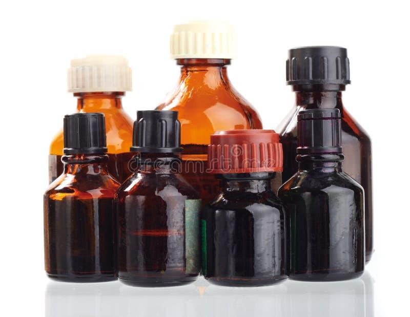 Flesje. De geneeskunde van het geneesmiddel. Geïsoleerdl stock foto