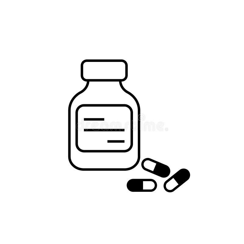 Flesje en drugs stock illustratie