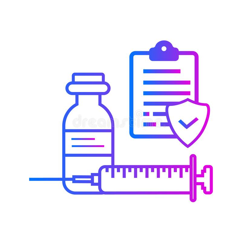 Flesje, spuit en lijst stock illustratie
