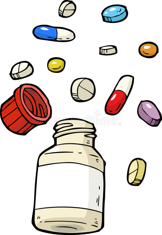 Flesje van pillen stock illustratie