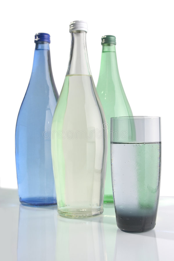 Flessen 1 van het water royalty-vrije stock afbeelding
