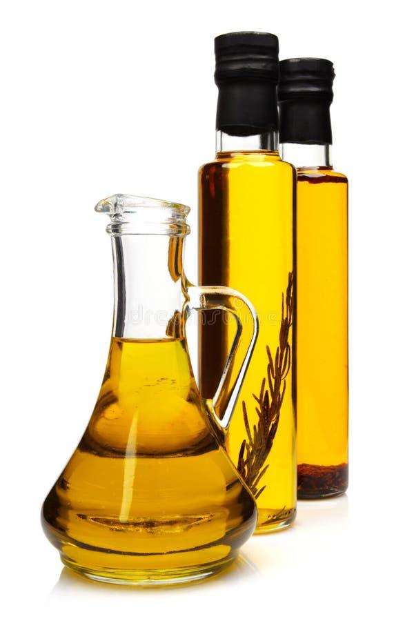 Flessen aromatische olijfolie. royalty-vrije stock afbeeldingen