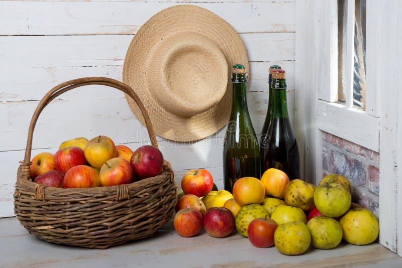 Flessen cider en appelen van Normandië stock foto's