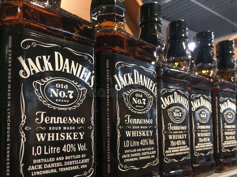 Flessen de Wisky van Jack Daniel ` s royalty-vrije stock foto