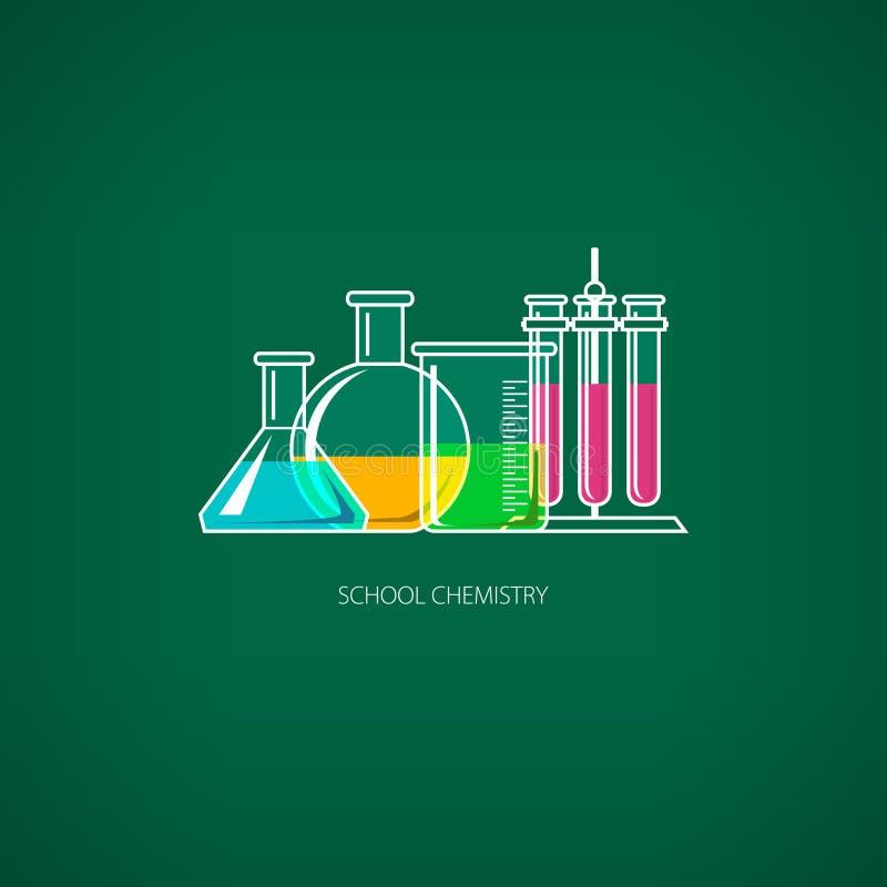 Flessen en Bekers, Chemisch Laboratoriummateriaal stock illustratie