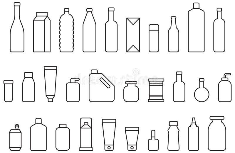 Flessen en containers royalty-vrije illustratie