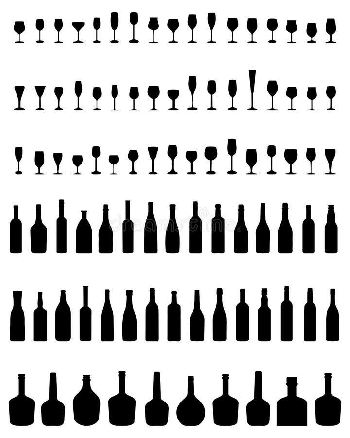 Flessen en Glazen stock illustratie