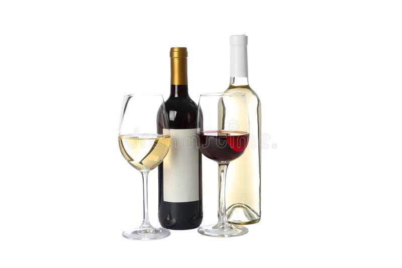 Flessen en glazen met wijn op wit wordt ge?soleerd dat royalty-vrije stock fotografie