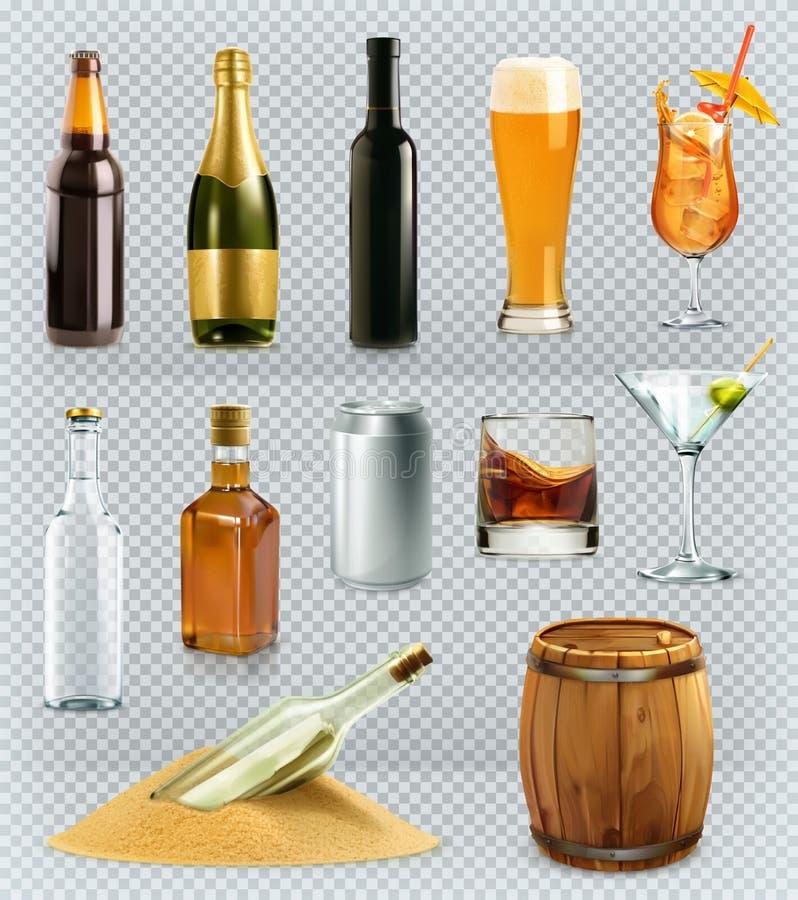 Flessen en glazenalcoholdrank Vector geplaatste pictogrammen stock illustratie