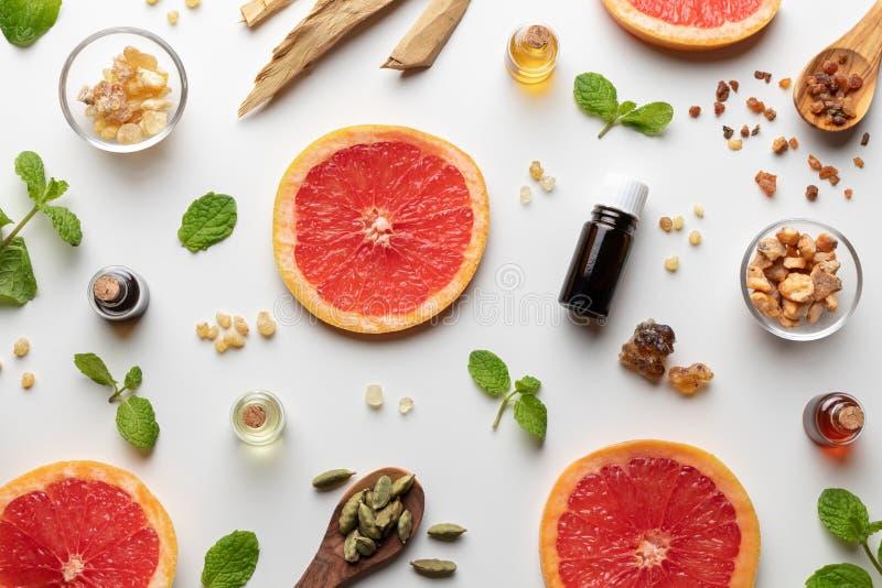 Flessen etherische olie met verse grapefruit, pepermunt, mirre, wit sandelhout, wierookhars, cardamon royalty-vrije stock foto