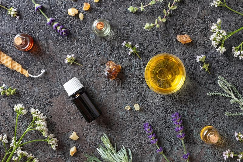 Flessen etherische olie met wierookhars, valeriaan, lavendel royalty-vrije stock afbeelding