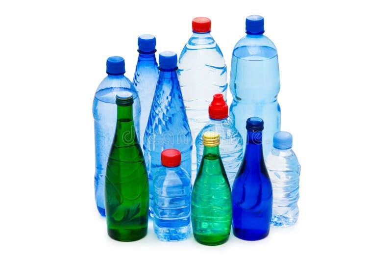 Flessen geïsoleerde water royalty-vrije stock foto