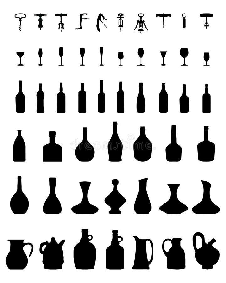flessen, glazen en kurketrekker, stock illustratie