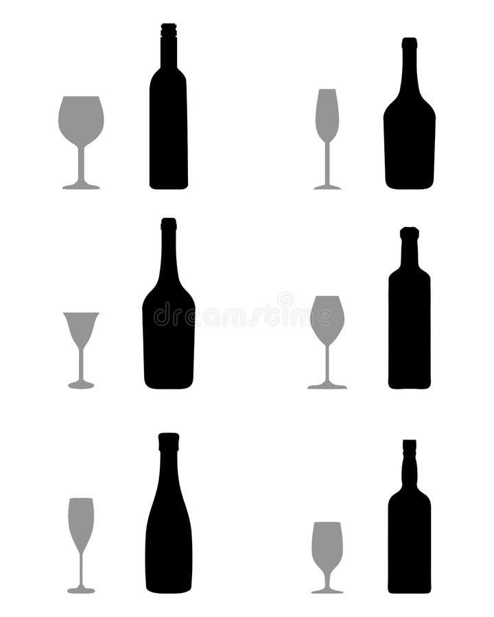 flessen, glazen en kurketrekker, royalty-vrije illustratie