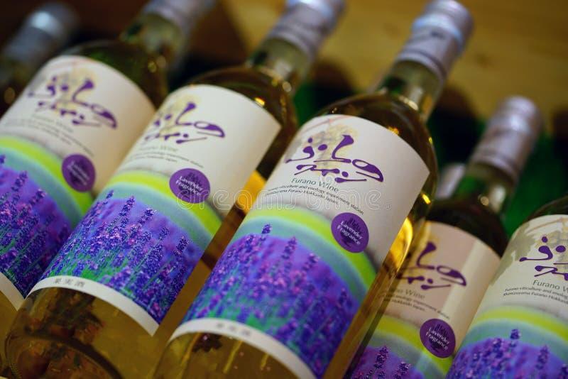 Flessen Japanse wijn in Hokkaido, Japan royalty-vrije stock foto's