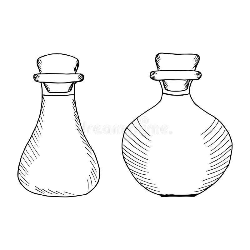 Flessen, kruiken 1 stock illustratie