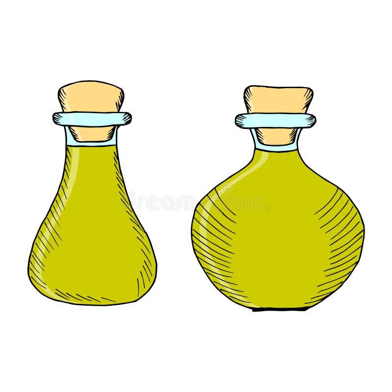 Flessen, kruiken 1 in kleur stock illustratie