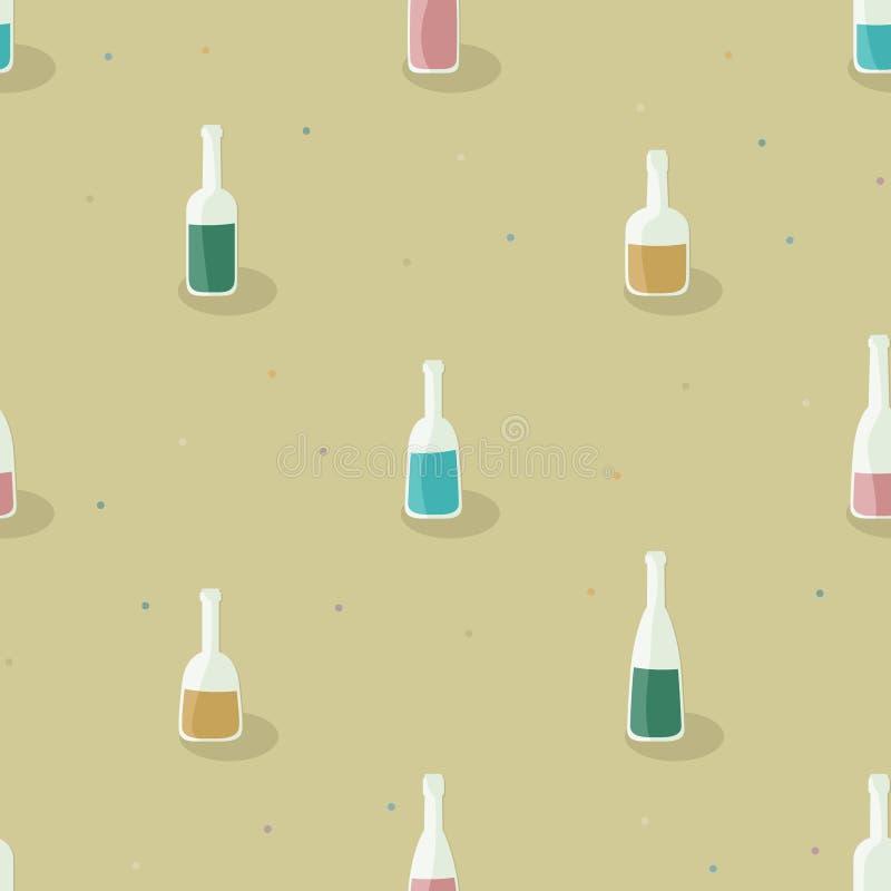 Flessen met diverse vloeistoffen worden gevuld die royalty-vrije illustratie